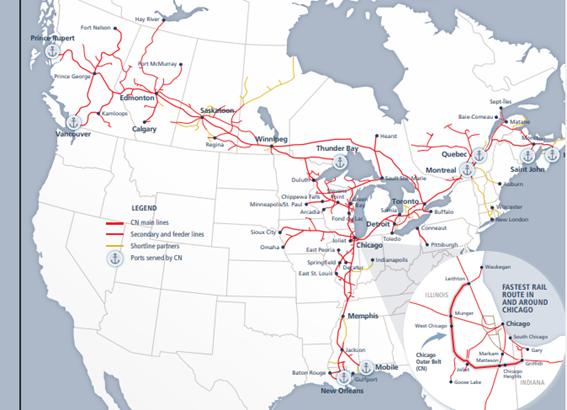 カナディアン・ナショナル・レイルウェイ【CNI】の銘柄分析。カナダの有力鉄道会社。