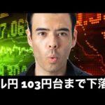 FXドル円が下落、103台まで下がるのか?(動画)