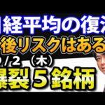日経平均が続伸、日本株の復活は本物なのか? 9月2日(木)の注目株・注目銘柄を解説(動画)